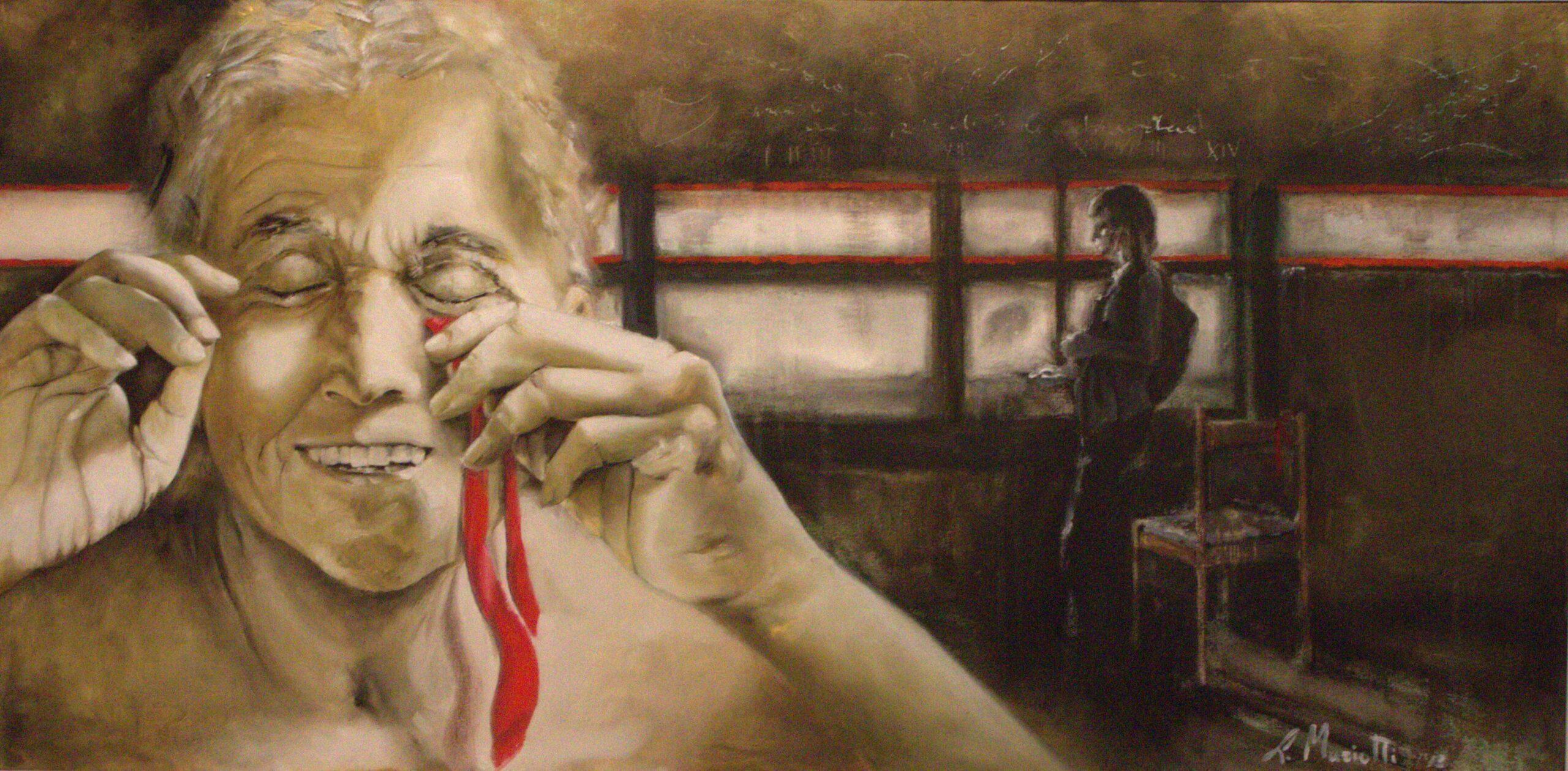 """LAURA MARIOTTI: """"il figlio"""" TECNICA: olio e pastello su tela DIMENSIONI: 100x50 Il legame tra un padre e un figlio non si lascia catturare facilmente dai colori, se il padre si spoglia del proprio ruolo. Sulla tela è l'oro che assume le sue sembianze, la paternità mancata che si riveste di materialità: oro marcito nello scorrere del tempo, in sfumature verde e ruggine. E' anche il volto del padre ormai vecchio, bagnato da una luce calda scesa a rassicurarlo che tutto non è perduto. Quell'abbraccio caldo e rassicurante è la menzogna, e adesso le sue labbra possono tranquillamente schiudersi in un sorriso. Tra le dita un nastro rosso: l'indelebile legame custodito nel sangue, l'ultimo appiglio alla vita. In lontananza, ben al sicuro dal conforto della menzogna, la cruda realtà. Una stanza buia e sporca – metafora dell'abbandono – alle cui finestre il figlio getta un ultimo sguardo nella speranza di scorgere quella figura senza volto, la cui assenza ha tracciato solchi sulla gelida parete, come nel suo cuore. Quattordici solchi. Zaino in spalla egli abbandona la sua sedia, e con essa il suo nastro rosso: è il suo ultimo viaggio. Il legame tra un padre e un figlio non si lascia catturare facilmente dai colori. Essi percorrono il proprio cammino come due linee rosse parallele, irraggiungibili, tracciate sugli argini di un fiume di vetro. La mano lo naviga in superficie e ne disvela il fondale: dalle nuvole grigie cadde il primo fiocco di neve."""