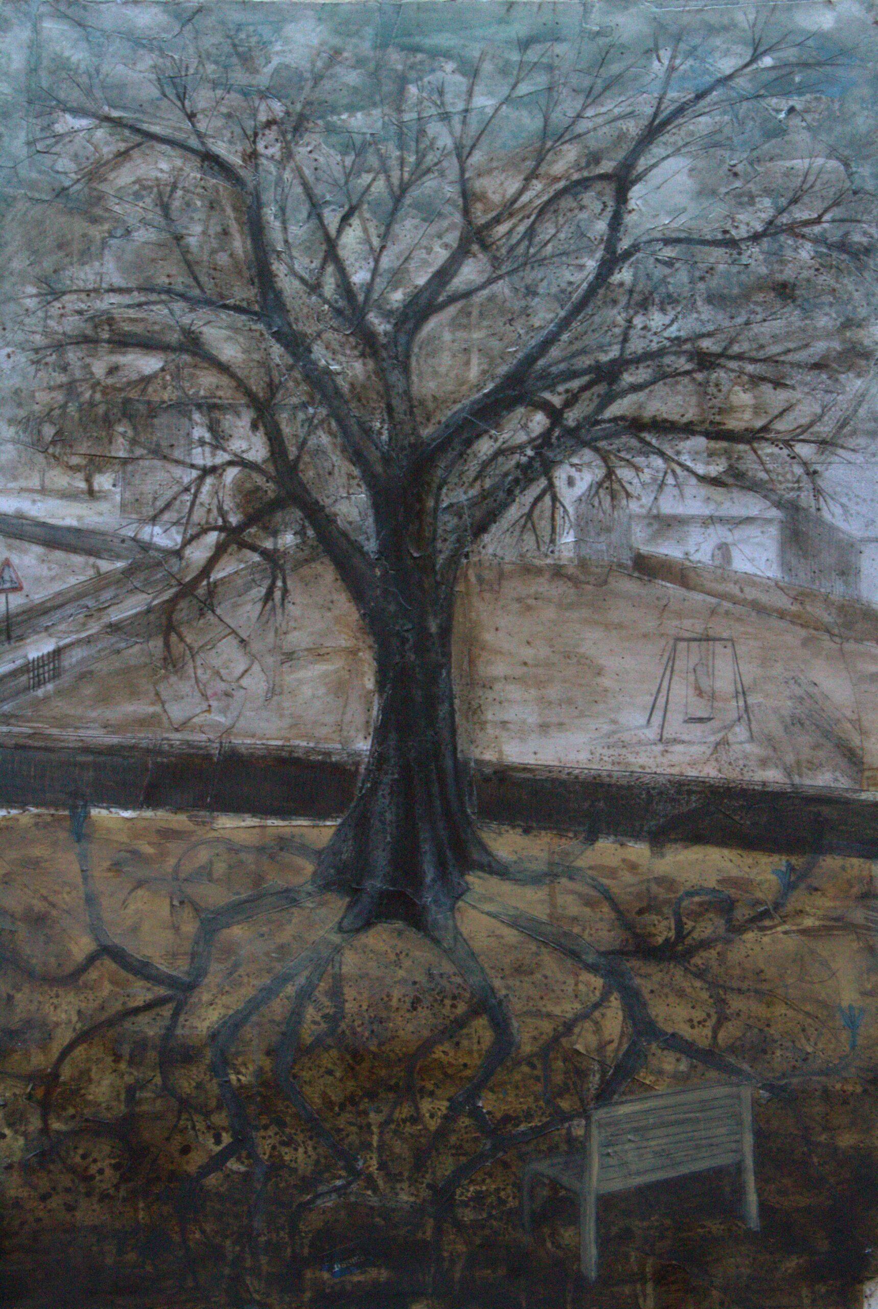 """MARIANNA ROSI: """"Il giardino di Chiara"""" TECNICA: mista su carta intelata DIMENSIONI: 100x70 cm I germogli della menzogna hanno dato vita ad un grosso albero che indisturbato cresce nel giardino di Chiara. All'interno del suo giardino l'albero custodisce l'altalena di una bambina che oscilla tra la verità e la menzogna. I rami dell'albero toccano la sua adolescenza fino ad arrivare alla consapevolezza di quello che Chiara è voluta diventare. Una panchina per contemplare il grande albero da dove crescono nuovi malefici germogli."""